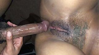 Tall slim ebony thot takes long peen