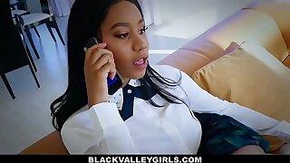 BlackValleyGirls - Cute Ebony Teen (Jenna Foxxx) Sneaks Around Dad To Fuck Bf