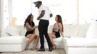 Interracial hardcore threesome with 2 Hungarian babes