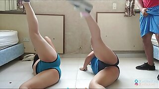Personal Trainer Fucks Two Sexy Girls / PART 1 / Perfect Asses / Sexy Training / Chiquicandy / LolitaAbney