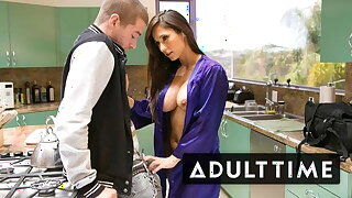 Step-MILF Deepthroats New Stepson's Cock In The Kitchen!