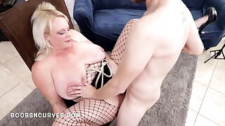 Eating and fucking huge tits wife's hairy ginger pussy