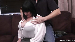 Plump brunette gets her pussy plowed by a stranger