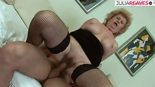 Dirty granny lets her hairy pussy get fucked hard