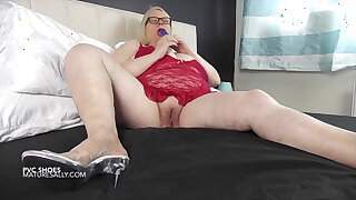 Sally in red playing with her pussy
