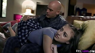Strict stepdad Derrick Pierce gave her teen stepdauther an anal and spanking punishment after spending overnight in her friends house.