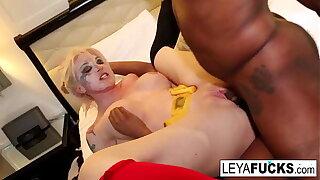 Cos Play Leya gets DPed by a black stud and an ebony hottie