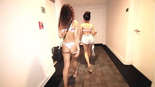 Rolling Loud smoking weed party in south beach Miami w/ Sarah Lace. Curly haired latina chica smoking blunt sucks big black dick and swallows the cum on Toticos.com